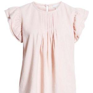 Hinge Pleat Detail Linen Blend Blouse Pink